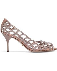 Sergio Rossi - Crystal-embellished Laser-cut Suede Court Shoes - Lyst