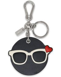 COACH - Leather And Silver-tone Keychain - Lyst