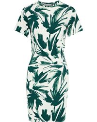 By Malene Birger - Woman Ofiniol Gathered Printed Stretch-jersey Mini Dress Emerald - Lyst