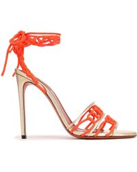 Missoni - Woman Lace-up Braided Suede And Metallic Leather Sandals Platinum - Lyst
