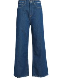M.i.h Jeans - Distressed High-rise Wide-leg Jeans Mid Denim - Lyst