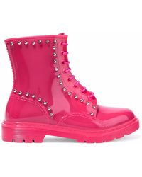 RED Valentino - Studded Glossed-rubber Rain Boots Bright Pink - Lyst