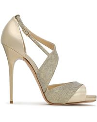 Jimmy Choo - Glittered Mesh And Metallic Leather Sandals - Lyst