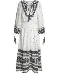 Zimmermann - Tasseled Embroidered Linen-gauze Midi Dress - Lyst