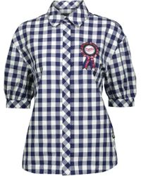Love Moschino - Embellished Embroidered Appliquéd Checked Cotton Shirt - Lyst