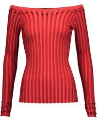 Altuzarra - Tatum Off-the-shoulder Fringed Rib-knit Jumper - Lyst