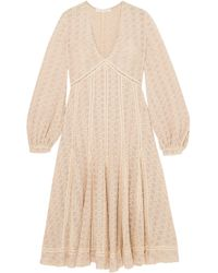 Jonathan Simkhai - Broderie Anglaise Cotton-blend Gauze Midi Dress Ecru - Lyst