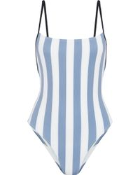 Solid & Striped - Woman The Chelsea Striped Swimsuit Light Blue - Lyst