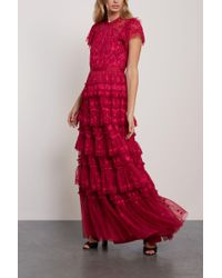 Needle & Thread - Darcy Tiered Embroidered Tulle Gown Crimson - Lyst