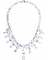 CZ by Kenneth Jay Lane - Woman Silver-tone Crystal Necklace Silver - Lyst