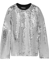 MSGM - Sequined Mesh Top - Lyst