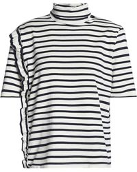 Petit Bateau - Ruffle-trimmed Striped Cotton Turtleneck Top - Lyst