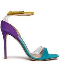 Gianvito Rossi - Pvc-trimmed Patent-leather Sandals - Lyst