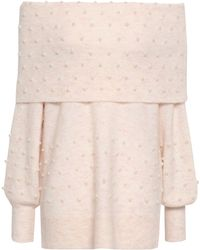 Michelle Mason - Woman Off-the-shoulder Faux Pearl-embellished Brushed Stretch-knit Jumper Pastel Pink - Lyst