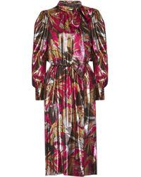 Marc Jacobs - Pussy-bow Printed Silk-blend Lamé Dress - Lyst