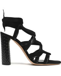 Casadei - Leather-trimmed Suede Sandals - Lyst