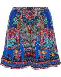 Camilla - Embellished Printed Silk Crepe De Chine Mini Skirt - Lyst