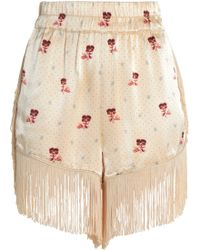 Ganni - Fringed Printed Crepe-satin Shorts - Lyst