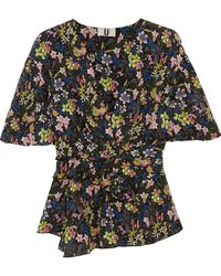 Topshop Unique - Aster Ruffled Printed Silk Crepe De Chine Top - Lyst
