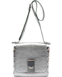 Jimmy Choo - Studded Metallic Cracked-leather Shoulder Bag - Lyst