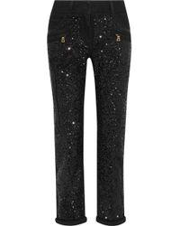 Balmain - Sequined Mid-rise Slim-leg Jeans - Lyst