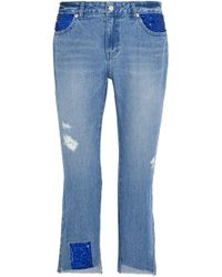 Steve J & Yoni P - Distressed Embellished Low-rise Straight-leg Jeans Light Denim - Lyst