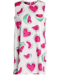 Love Moschino - Printed Stretch-cotton Mini Dress - Lyst