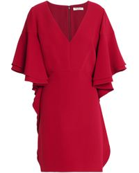 Halston - Ruffled Crepe Mini Dress - Lyst