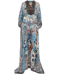 Roberto Cavalli | Lace-up Bead-embellished Printed Silk-georgette Maxi Dress | Lyst