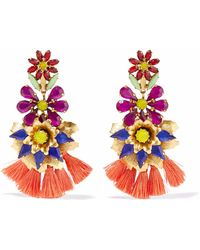 Elizabeth Cole - Woman 24-karat Gold-plated, Crystal And Tassel Earrings Multicolor - Lyst