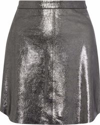 7a9acc0444 W118 by Walter Baker - Heather Metallic Coated Textured-leather Mini Skirt  Silver - Lyst