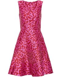 Oscar de la Renta - Flared Leopard-print Satin-jacquard Dress - Lyst
