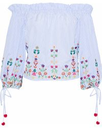 Raoul - Off-the-shoulder Embroidered Striped Cotton Blouse Light Blue - Lyst