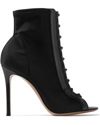 Gianvito Rossi - 100 Leather-trimmed Stretch-faille Boots - Lyst