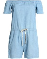 Mother - Off-the-shoulder Cotton-chambray Playsuit Light Denim - Lyst