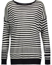 Vince - Striped Cotton, Silk And Cashmere-blend Sweater - Lyst