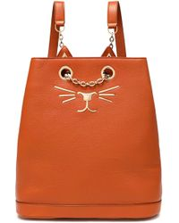 Charlotte Olympia - Woman Chain-embellished Appliquéd Textured-leather Backpack Brick Size -- - Lyst