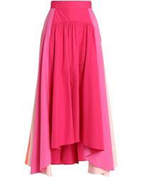Peter Pilotto - Pleated Color-block Cotton-poplin Midi Skirt - Lyst
