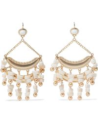 Kenneth Jay Lane - Gold-tone Stone Beaded Earrings - Lyst