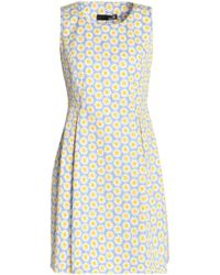 Love Moschino - Pleated Floral-print Cotton-blend Mini Dress Light Blue - Lyst