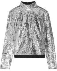 Delpozo | Silk Chiffon-trimmed Metallic Velvet Top | Lyst