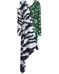 Raoul - Asymmetric Striped Twill And Floral-print Crepe Dress - Lyst