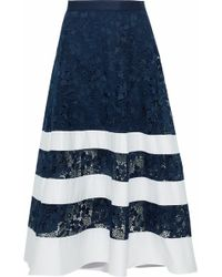 Badgley Mischka - Poplin-paneled Guipure Lace Midi Skirt - Lyst