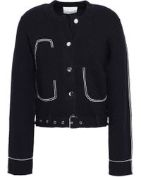 3.1 Phillip Lim - Woman Belted Embroidered Cotton-blend Jacket Navy - Lyst