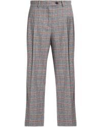 Stella Jean - Checked Wool-blend Straight-leg Trousers - Lyst