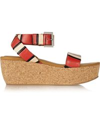 See By Chloé - Patti Striped Leather Wedge Sandals - Lyst