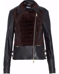 Just Cavalli - Faux Fur-paneled Leather Biker Jacket Dark Brown - Lyst