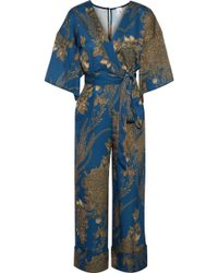 Iris & Ink - Sidney Wrap-effect Hammered-satin Jumpsuit - Lyst