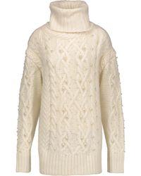 Rachel Zoe - Embellished Cable-knit Wool-blend Turtleneck Sweater - Lyst