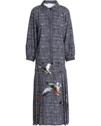 Stella Jean Woman Gathered Checked Tweed Midi Shirt Dress Navy Size 40 Stella Jean 5uPE4Sobep